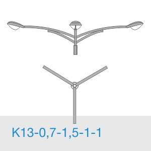 К13-0,7-1,5-1-1 консольный трехрожковый кронштейн