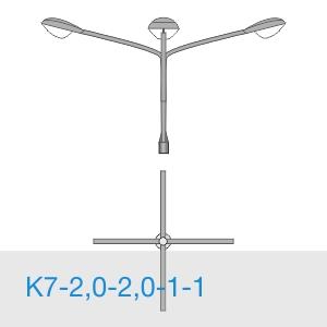 К7-2,0-2,0-1-1 консольный четырехрожковый кронштейн