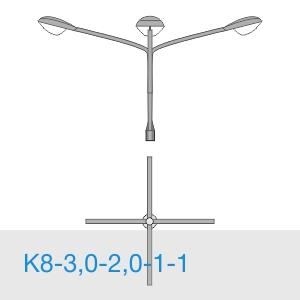 К8-3,0-2,0-1-1 консольный четырехрожковый кронштейн