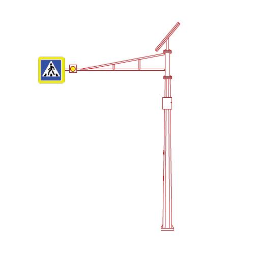 СОД-С-7,5 светофорная опора с солнечной панелью