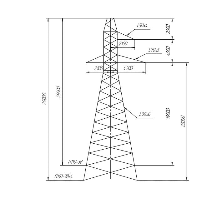 П110-3В / П110-3В+4 промежуточная опора