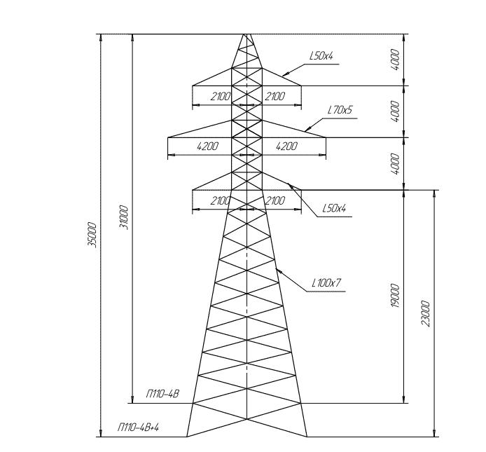 П110-4В+4 промежуточная опора