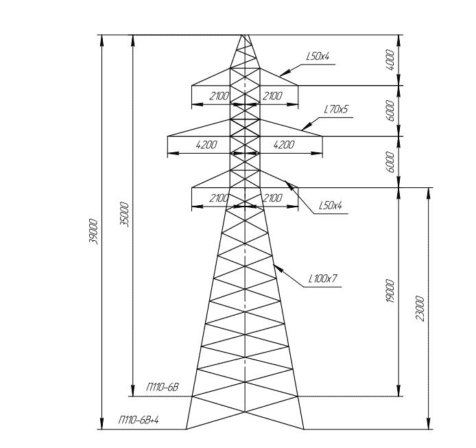 П110-6В+4 промежуточная опора